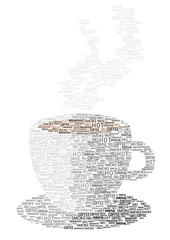 vector coffee cup made of words