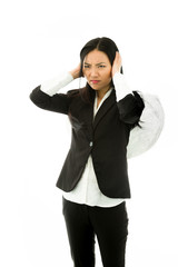 Asian young businesswoman dressed up as an angel hear no evil
