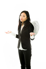 Asian young businesswoman dressed up as an angel don't know what