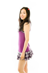 Asian young woman dressed up as a devil and smiling isolated on