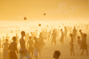 Posto Nove Rio Golden Sunset Silhouettes Beach Football