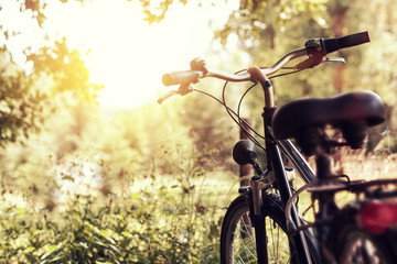 Foto op Plexiglas Fiets abgesteltes Fahrrad im Sonnenlicht
