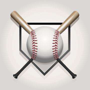 Baseball, Bat, Homeplate Illustration