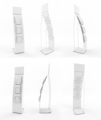 Set of white promotional stands.