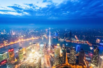 nightfall view of shanghai