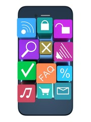 smart phone with color application icons