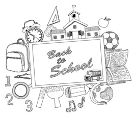 Illustration of a back to school background,cartoon