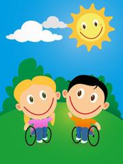 Wheelchair pair of children