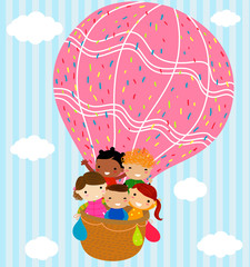 Group of children and hot balloon