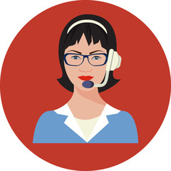 Vector Customer support operator with headset