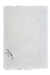 Reverse side of a postage stamp
