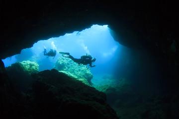 Scuba diving underwater cave