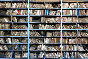 shelves full of files in an old archive Wall mural