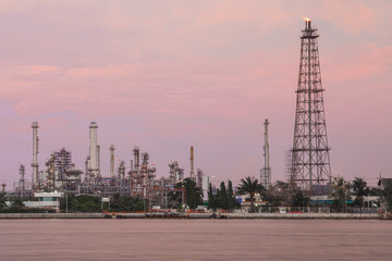 Oil refinery plant  at Twilight , Bangkok Thailand