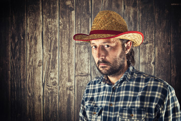 Farmer with cowboy straw hat
