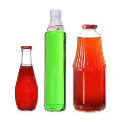 collection of juice bottles isolated on white