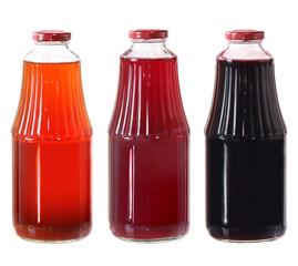 juice bottles isolated on white