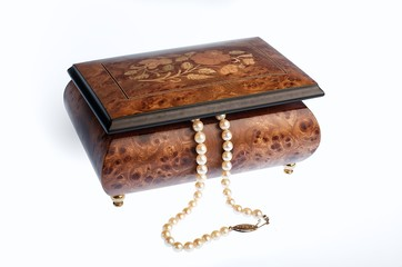 Pretty European Music Box with Pearls