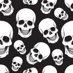 Black and white skull seamless pattern