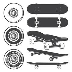 Set of skateboards and skateboarding wheels.