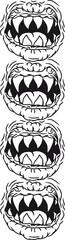 4 Horror Halloween Böse Monster Mäuler