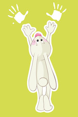 Rabbit and his handprints