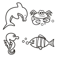 marine life - coloring book
