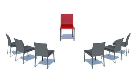 place the main man. red chair