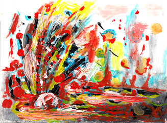 hand draw abstract paint