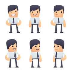 set of businessman character in different poses