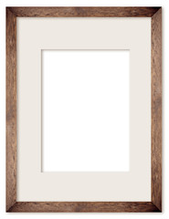 vertical size natural wooden photo frame with cut board