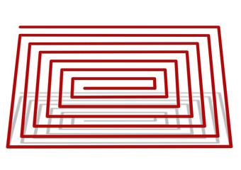 kırmızı gölgeli labirent yolu