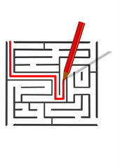 kırmızı çizgili labirent