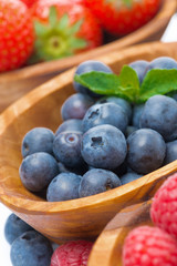 assortment of berries - raspberry, blueberry and strawberry
