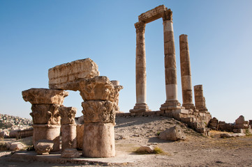 The Temple of Hercules at the Amman Citadel, Jordan.