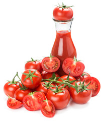 Juice and  tomatoes vegetable with cut