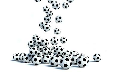 Falling Soccer Balls on white background