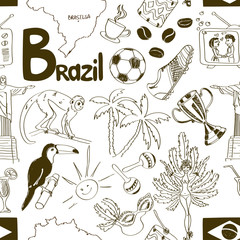 Sketch Brazil seamless pattern