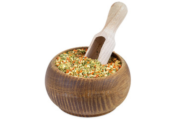Vegeta spices in wooden bowl