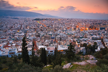 View of Athens from Filopappou Hill in early morning.