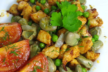 boiled broad bean with meat