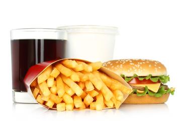 Hamburger, potato free and cola on white background .