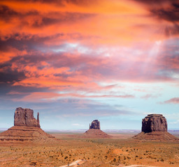 The unique buttes and landscape of Monument Valley, Utah, USA.