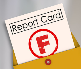 F Failing Grade Score Report Card Poor Performance Failure