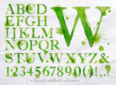 Alphabet watercolor green
