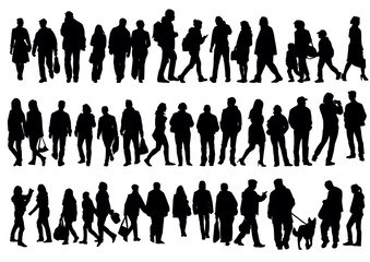 Silhouettes of people walking on the street