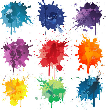 Colorful Abstract vector ink paint splats