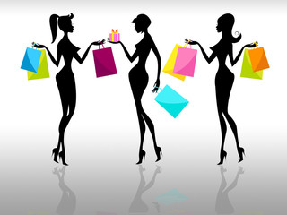 Shopping Women Represents Retail Sales And Adults
