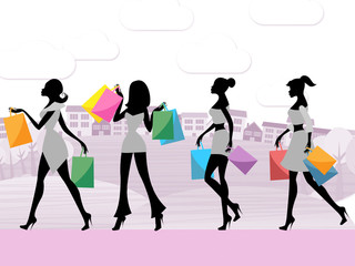 Women Shopping Shows Commercial Activity And Adult