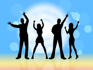 Disco Dancing Indicates Party Nightclub And Silhouette